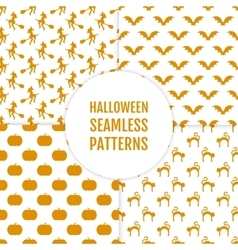 Happy Halloween set of seamless patterns with vector image vector image