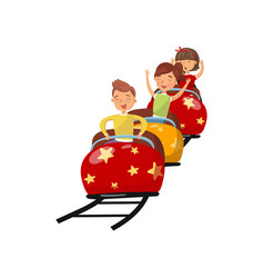 Happy people riding on roller coaster in amusement vector