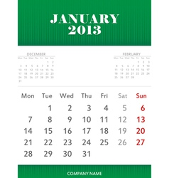January 2013 calendar design vector image vector image