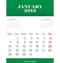 January 2013 calendar design vector