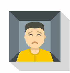 Man trapped in a box icon flat style vector