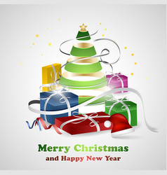 merry christmas and happy new year wishes with vector image