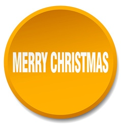 merry christmas orange round flat isolated push vector image vector image