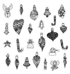 Monochrome Christmas toys set vector image