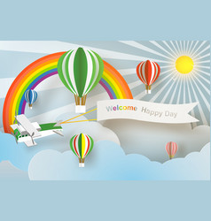 Paper art of welcome happy day board with plane vector
