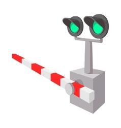Railroad crossing sign cartoon icon vector