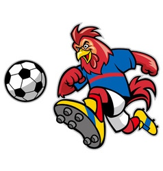 Rooster soccer mascot vector