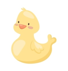 Rubber duck toy cartoon bath yellow character flat vector