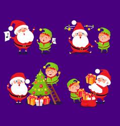 santa claus and elf sets vector image vector image