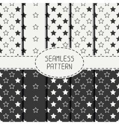 Set of geometric seamless stars pattern vector image vector image
