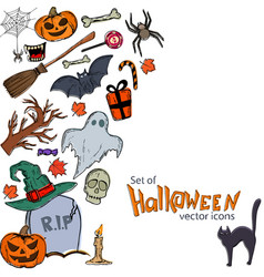 Side vertical border with halloween icons vector