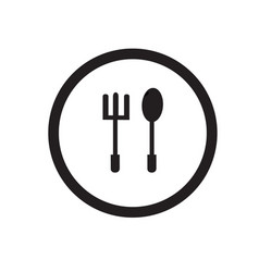 Simple silhouette logo spoon and fork icons vector