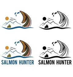 Tail of salmon on the background of landscape vector