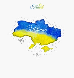 Travel around the world ukraine watercolor map vector