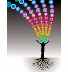 Tree man roots dots vector