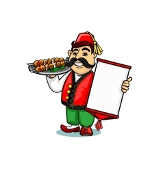 Turkish cook with menu and shashlik vector