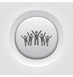 Victory icon grey button design vector