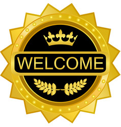 welcome gold badge icon vector image vector image