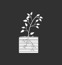White icon on black background plant and root vector