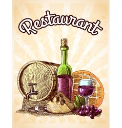 Wine cheese and bread poster vector