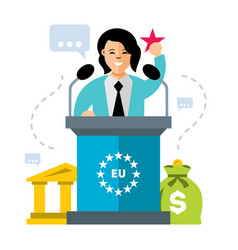 Woman speaker flat style colorful cartoon vector