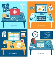 Workspace Rooms Set vector image
