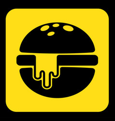 Yellow black sign - hamburger with melted cheese vector