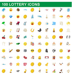 100 lottery icons set cartoon style vector