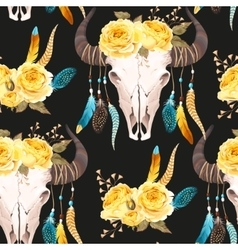 Buffalo skull decorated with flowers seamless vector