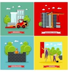 Construction site concept banners Building vector image