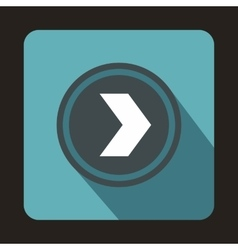 Gray button with whire arrow icon flat style vector
