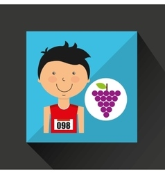 Cartoon boy athlete with grape vector