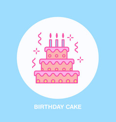 Birthday cake line icon logo for bakery vector
