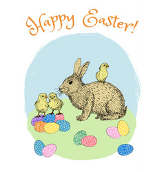 Easter eggs and rabbit vector