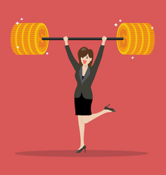 business woman lifting a heavy weight vector image