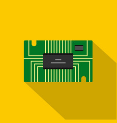 Green microchip icon flat style vector