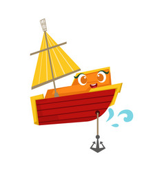 Orange and red sailing boat with an anchor cute vector