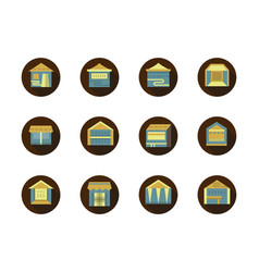Pavilions for trade round flat color icons vector
