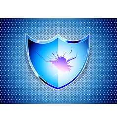 Glossy blue shield on steel background vector