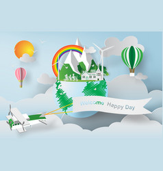 Paper art of world environment day earth globe vector
