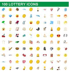 100 lottery icons set cartoon style vector
