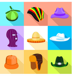 Summer and winter hat icons set flat style vector