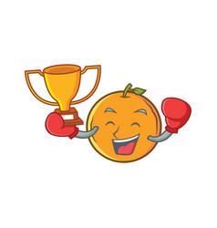 Boxing winner orange fruit cartoon character vector