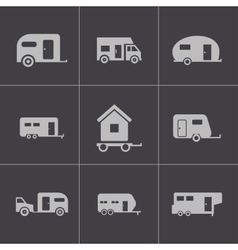 Black trailer icons set vector