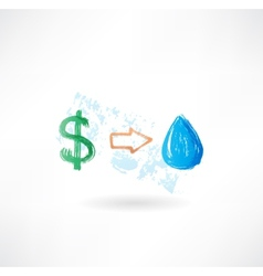 Water dollar grunge icon vector