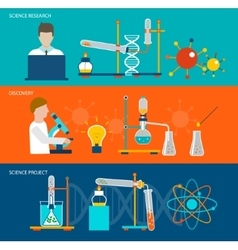 Science research and chemical laboratory banners vector