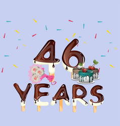46th years happy birthday card vector image vector image