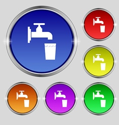 Faucet glass water icon sign round symbol on vector