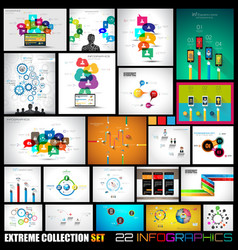 Collection of 22 infographics for social media and vector