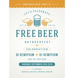 Oktoberfest beer festival poster or flyer template vector